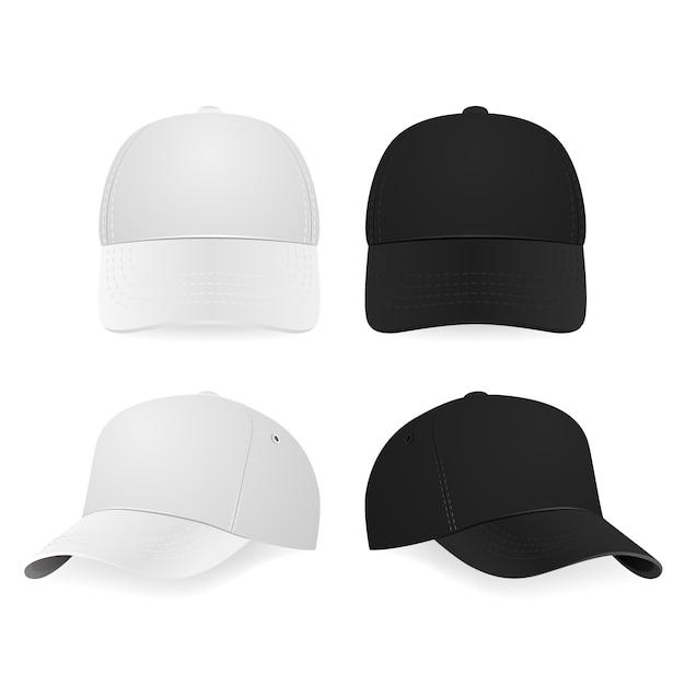 Zwei realistische weiße und schwarze baseballmützen Premium Vektoren