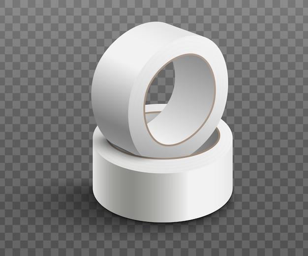 Zwei rollen weißes klebeband gestapelt - realistisch Premium Vektoren