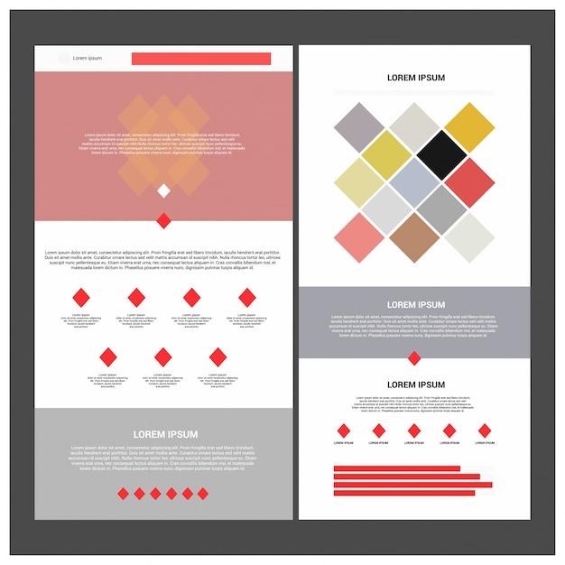 Zwei seiten-website-vorlage und verschiedene kopf-designs. Premium Vektoren