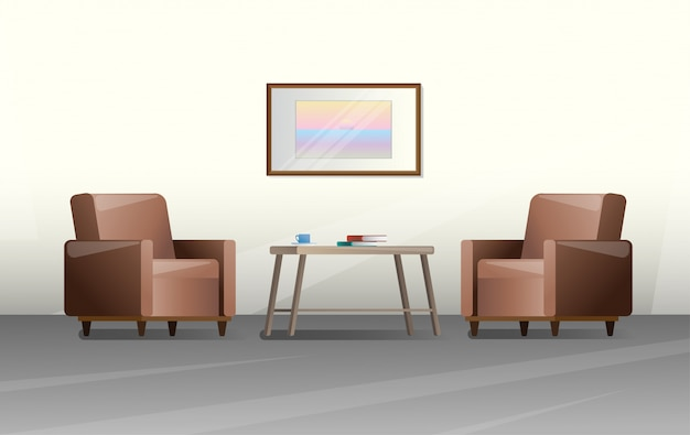Zwei stühle und ein tisch in einem raum Premium Vektoren