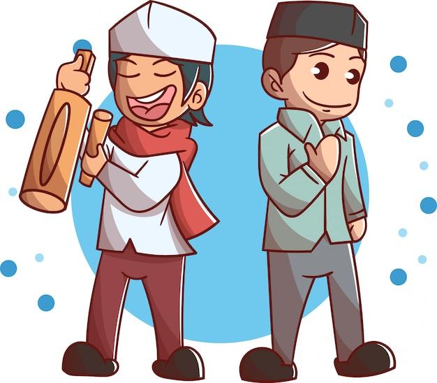 Zwei süße muslimische jungencharater Premium Vektoren