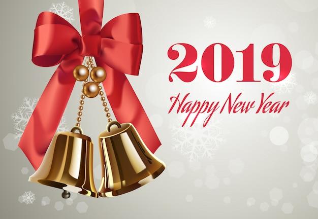 Zwei tausend achtzehn, happy new year-schriftzug, glocken und bogen Kostenlosen Vektoren