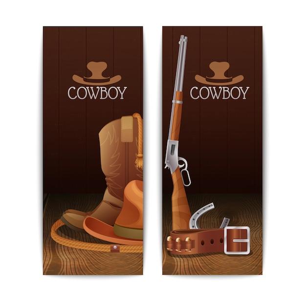Zwei vertikale cowboy-banner Kostenlosen Vektoren