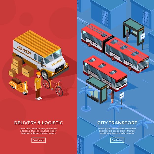 Zwei vertikale isometrische transportfahnen Kostenlosen Vektoren