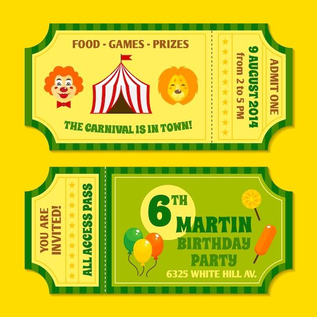Zwei Vintage Zirkus Karneval Geburtstagsfeier Einladung Tickets ...