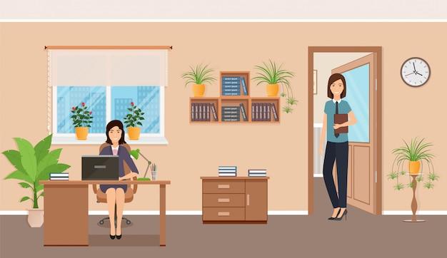 Zwei weibliche büroangestellte am arbeitsplatz am tisch mit laptop. Premium Vektoren