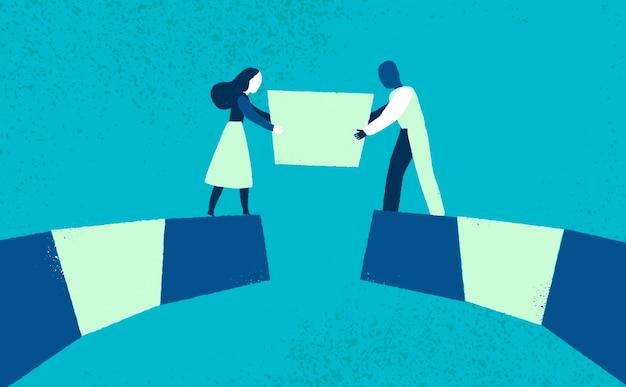 Zwei zeichen bauen eine brücke Kostenlosen Vektoren