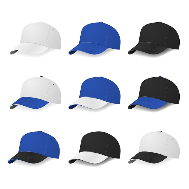 Zweifarbige baseballmützen mit weißen, blauen und schwarzen farben. illustration. Premium Vektoren