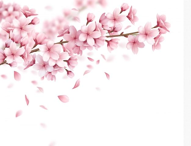 Zweig mit schönen sakura blumen und fallenden blütenblättern realistische zusammenstellungsillustration Kostenlosen Vektoren