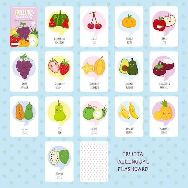 Zweisprachiger flashcard vektorsatz der netten früchte Premium Vektoren