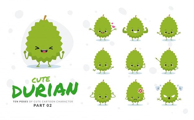 Zweiter satz von cartoonbildern von durian. Premium Vektoren