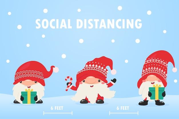 Zwerggnome tragen masken und verlassen den sozialen raum, um die korona zu weihnachten zu verhindern. Premium Vektoren