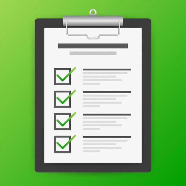 Zwischenablage mit checklisten-symbol. checklisten-symbol für das web. Premium Vektoren