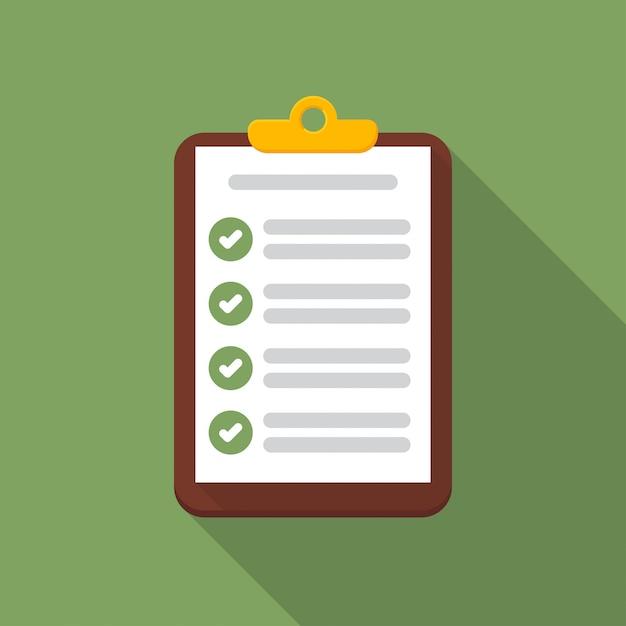 Zwischenablage mit checklisten-symbol mit langen schatten Premium Vektoren