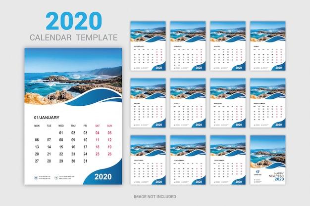Zwölf monate neujahrskalender für wand und schreibtisch Premium Vektoren