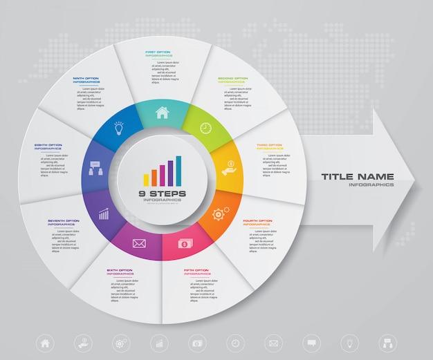 Zyklus- und pfeildiagramm infographic für datenpräsentation Premium Vektoren