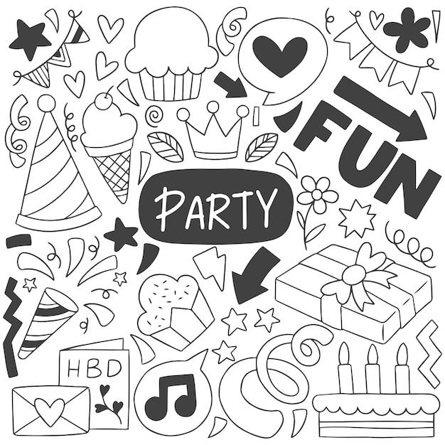 0001 festa de mão desenhada doodle feliz aniversário Vetor Premium
