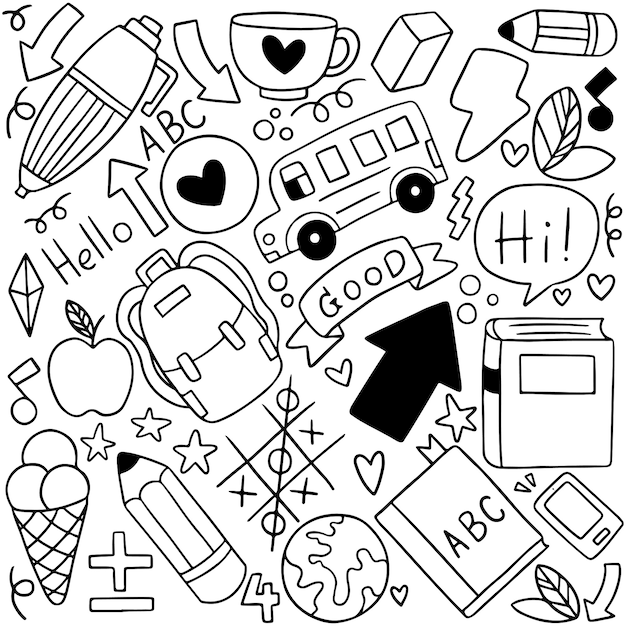 08-09-080 hand drawn conjunto de ícones de escola ornamentos fundo patternflag Vetor Premium