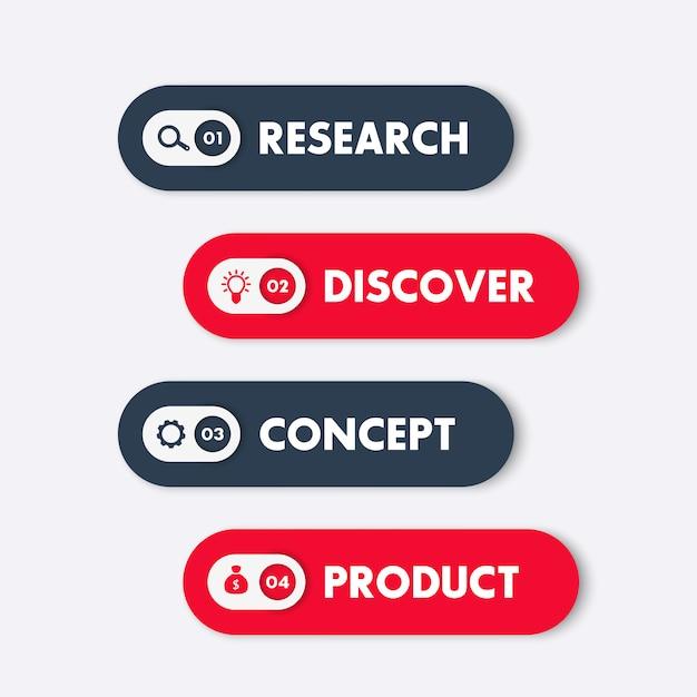 1, 2, 3, 4 etapas, linha do tempo, gráfico de progresso, elementos de infográficos, etiquetas em vermelho e azul Vetor Premium