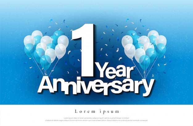 1º ano de aniversário cartão letras Vetor Premium
