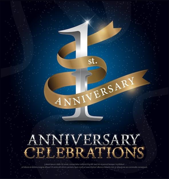 1º ano de aniversário celebração prata e ouro logotipo Vetor Premium