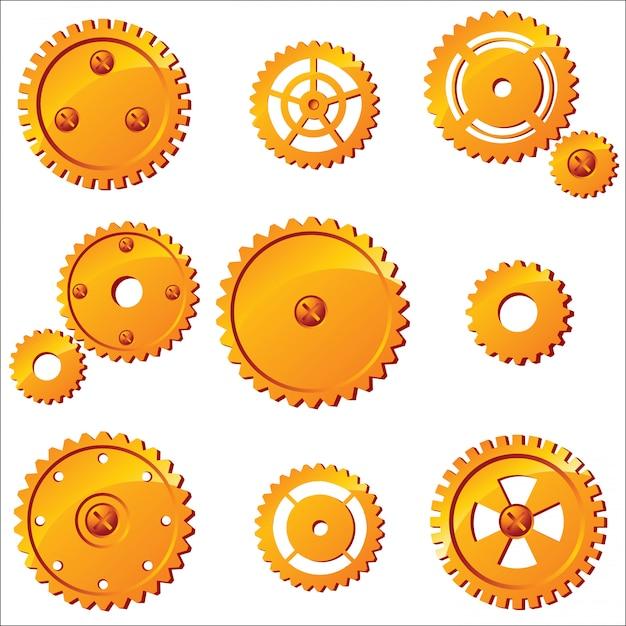 10 engrenagens de vetor laranja Vetor Premium