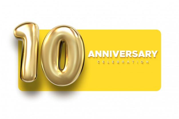 10 números de ouro de aniversário. celebração 10º aniversário evento modelo de festa. Vetor Premium
