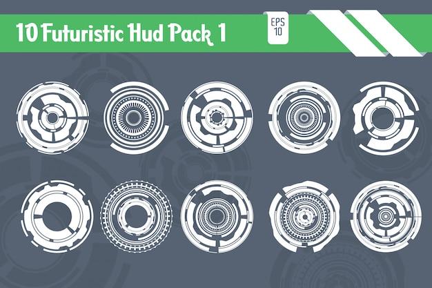 10 pacote de tecnologia hi tecnologia futuristic hud elements Vetor Premium