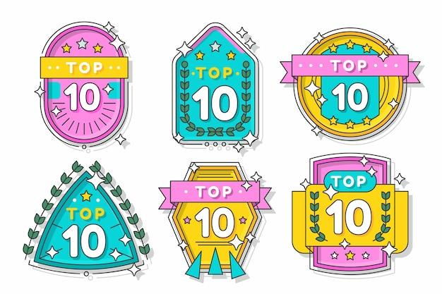 10 principais rótulos com fitas Vetor grátis
