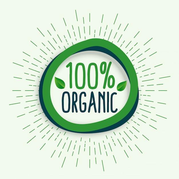 100% orgânico. símbolo de comida orgânica natural saudável fresco Vetor grátis