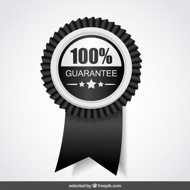 100 por cento de garantia preto e branco Vetor grátis