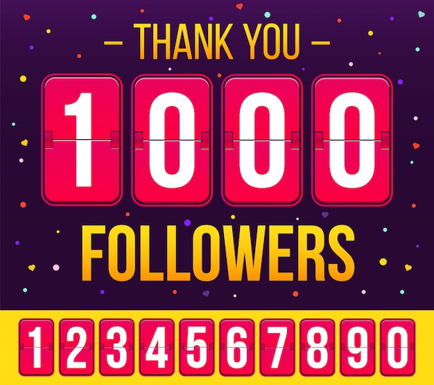 1000 inscritos seguidores, obrigado banner. Vetor Premium