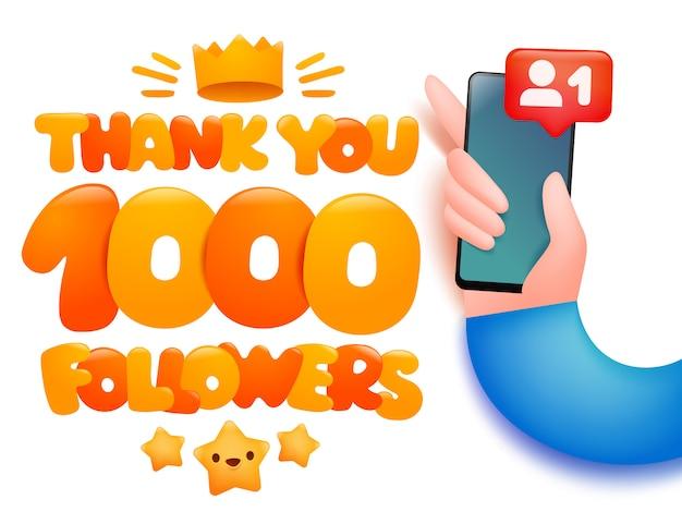 1000 seguidores cartum ilustração com a mão segurando o smartphone Vetor Premium