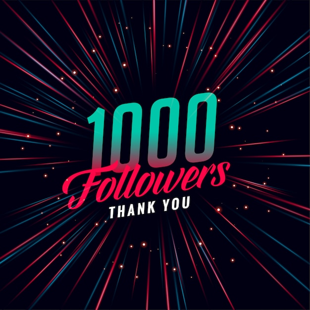 1000 seguidores de mídia social Vetor grátis