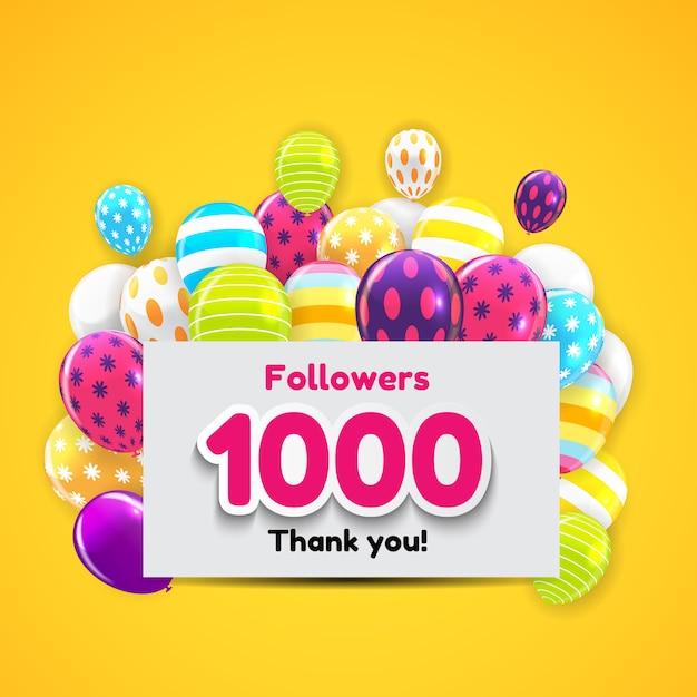 1000 seguidores, obrigado background for social network friends Vetor Premium