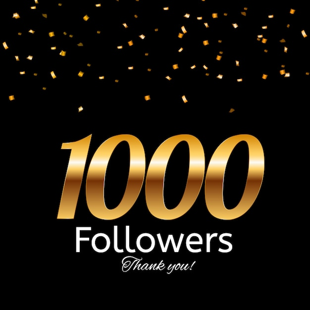 1000 seguidores. obrigado background Vetor Premium