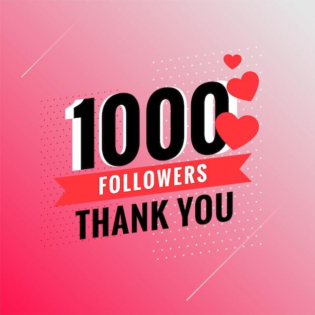 1000 seguidores obrigado banner Vetor grátis