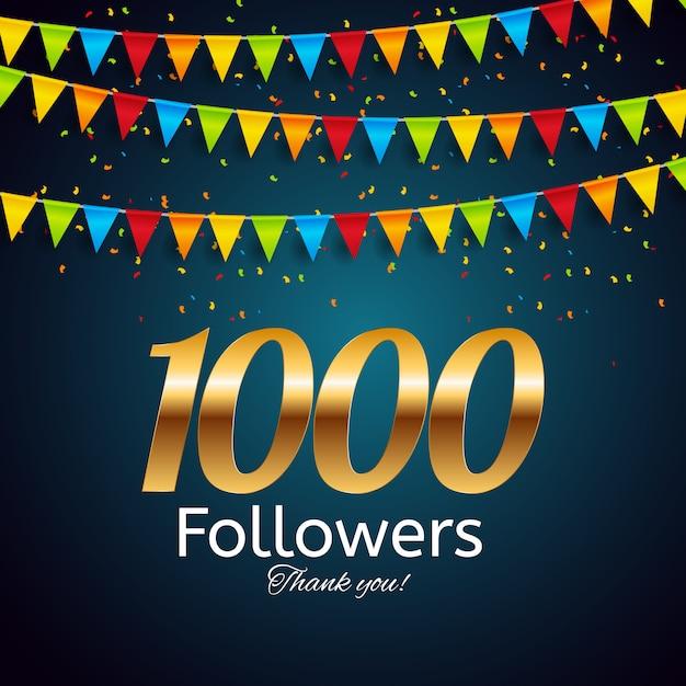 1000 seguidores. obrigado. fundo Vetor Premium