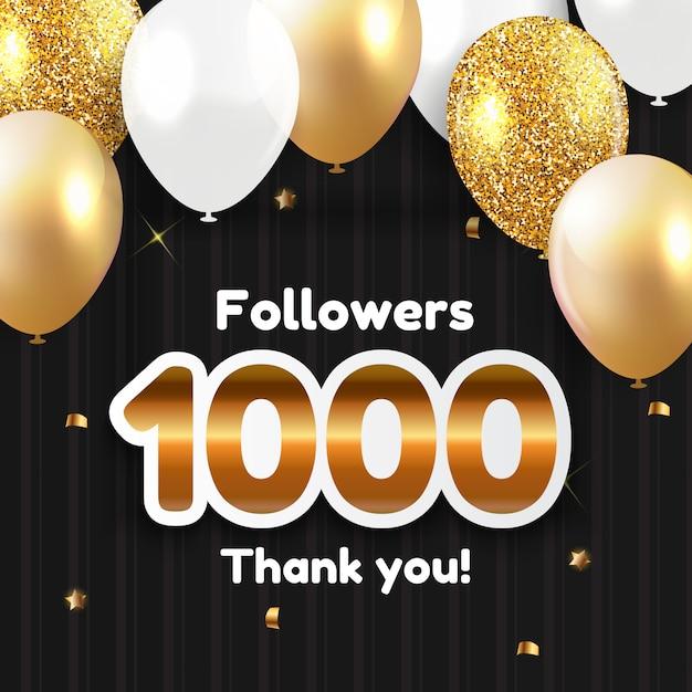 1000 seguidores, obrigado por amigos das redes sociais Vetor Premium