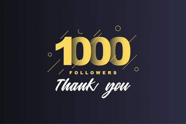 1000 seguidores obrigado Vetor Premium