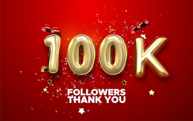 100k seguidores celebração banner com texto. cartaz de conquista de mídia social. 100k seguidores obrigado letras Vetor Premium