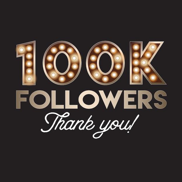 100k seguidores obrigado banner Vetor Premium