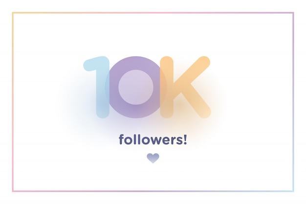 10k ou 10000, seguidores obrigado número de fundo colorido com sombra suave Vetor Premium