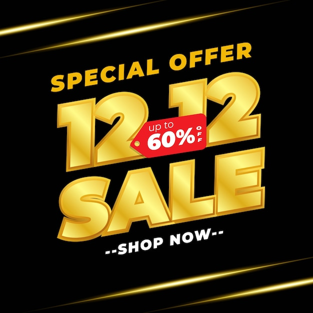 12.12 banner de liquidação no dia de compras com cor preta dourada Vetor Premium