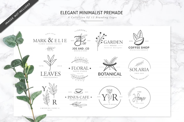 12 logotipo de marca premade minimalista elegante para florista ou spa Vetor Premium