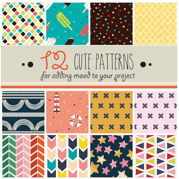 12 padrões definidos em estilo infantil fofo Vetor Premium