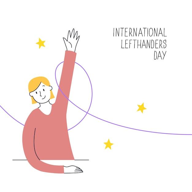 13 de agosto, dia internacional dos canhotos. feliz dia dos canhotos. apoie seu amigo canhoto. uma garota sentada ergue a mão esquerda com orgulho. ilustração, estilo de linha moderno Vetor Premium