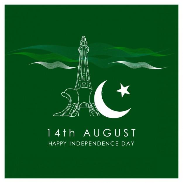 14 de agosto minarepakistan com molde lua Vetor grátis