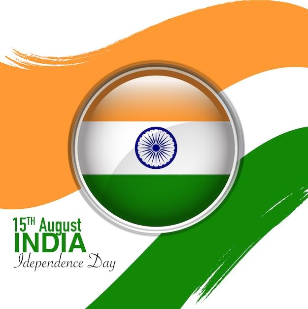 15 de agosto dia da independência da índia com chanfro de bandeira do círculo no meio Vetor Premium