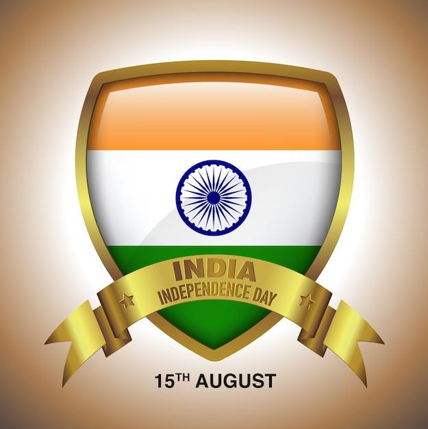 15 de agosto dia da independência da índia em ouro distintivo com fita Vetor Premium